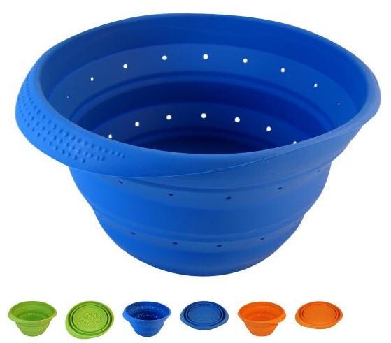 Blue 4 Quart Collapsible Silicone Colander