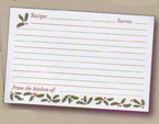 3″ x 5″ Holiday Recipe Cards Holly Border Pack of 16