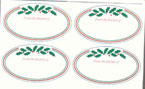 Holiday Holly Oval Labels Set of 20