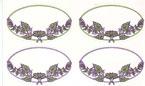 Oval Labels Purple Floral Set of 20