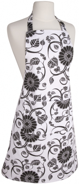 Annabella Basic Apron – Black Floral On White Background