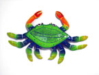 12″ Metal Crab Blue with Dots