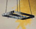30″ x 15″ Black Rectangular Pot Rack with Center Bar