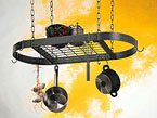 33″ x 17″ Hammered Steel Oval Pot Rack with Center Grid