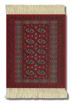 Maroon Turkoman Bokhar Coaster Rug Set of 4