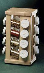 Revolving Maple Spicerack with 16 Bottles