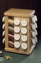 Revolving Maple Spice Rack with 32 Bottles