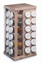 Revolving Maple Spice Rack with 48 Bottles